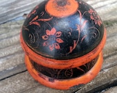 Vintage Hand Painted Orange and Black Floral Wooden Spice Box from Afghanistan Petite Mini