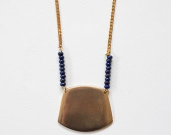 Vast Necklace - Cast Bronze Shield with Lapis Lazuli