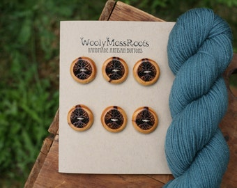 6 Wood Tree Buttons- Red Cedar Wood- Wooden Buttons- Eco Craft Supplies, Eco Knitting Supplies, Eco Sewing Supplies