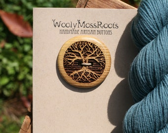 Yellow Wood Tree Button- Wooden Buttons- Eco Craft Supplies, Eco Knitting Supplies, Eco Sewing Supplies
