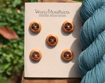 5 Wood Tree Buttons- Wooden Buttons- Eco Craft Supplies, Eco Knitting Supplies, Eco Sewing Supplies