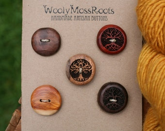 5 Mixed Wood Buttons- in Reclaimed Woods- Eco Knitting Supplies, Sewing Supplies, Craft Buttons- DIY Knitting Supplies