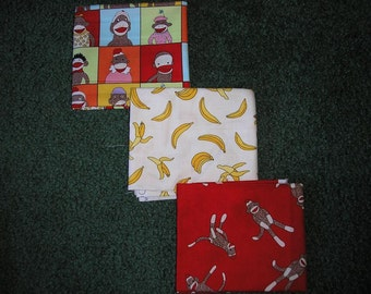 3 Sock Monkey Fat Quarters  by Moda Fabric