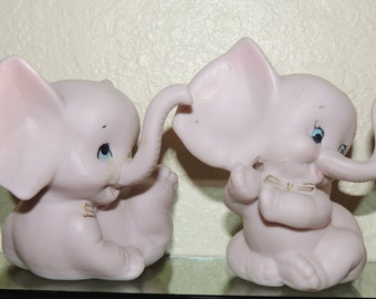 Pink Porcelain Elephants by Crown West
