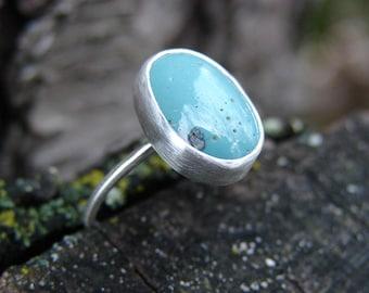 RESERVED FOR B: Deposit for Custom Little Leland Blue Stone Silver Ring No. 7