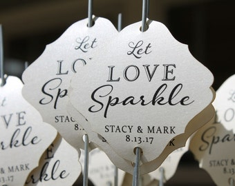 Sparkler Tags - Wedding Sparkler Send Off  - Wedding Sparkler Tags - Let Love Sparkle  (Set of 25)