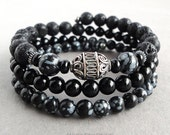 Wrap Around Bracelet for Men, Sterling Silver Accents, Black Onyx, Lava Rock, Snowflake Obsidian, Mens Memory Wire Jewelry