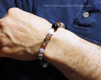 Men's Bracelet, Botswana Agate, Black Onyx, Mens Beaded Gemstone Jewelry, Handmade for Men, Guys, Dad, Him