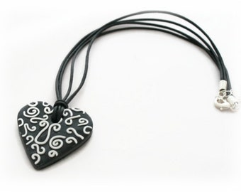 Black Heart Necklace - Heart Pendant Necklace - Clay Jewelry - Filigree Jewelry - Black Necklace for Her - Pendant Jewelry - Gift for Her