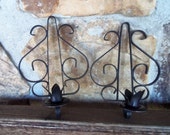 Pair of Black Wrought Iron Sconces Hanging Taper Candle Holders Tulip Vtg 70s