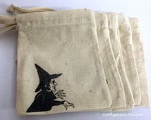 Wizard of Oz Character Bags/ Cotton Drawstring Bags/ Treat Favor Small Gift Bags/ SET of 5