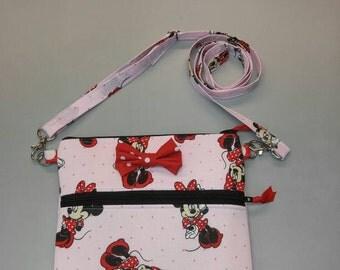 Disney Minnie Mouse pink purse, messenger/cross body bag handmade
