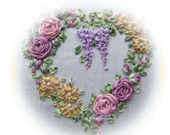 Silk Ribbon Embroidery - Victorian Roses and Wisteria picture kit