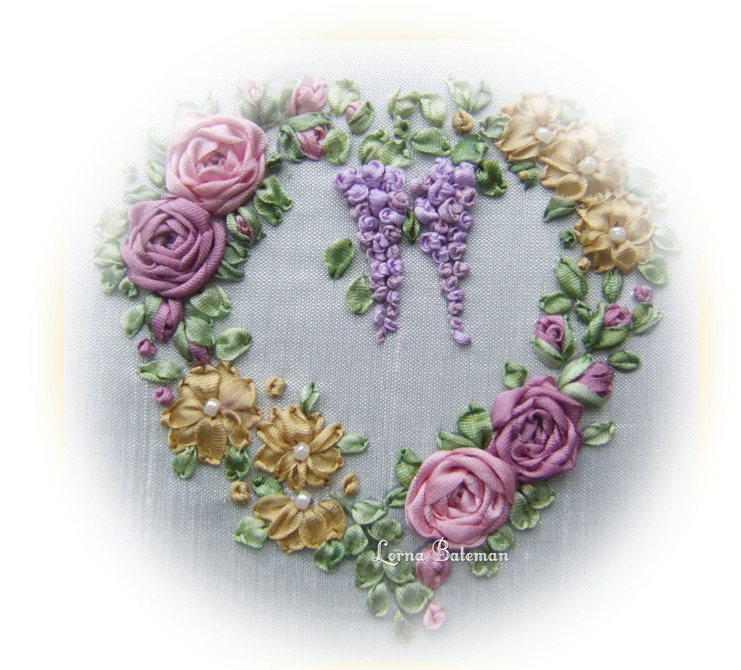 Silk ribbon embroidery victorian roses and wisteria picture
