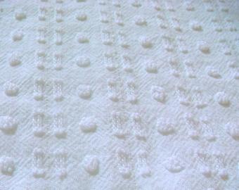 Morgan Jones White Pops and Mini Buttonhole Vintage Cotton Chenille Bedspread Fabric Corner Pc