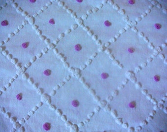 Lavender Pops on White Lattice Handmade Candlewick Vintage Cotton Chenille Bedspread Fabric 23 x 25 Inches