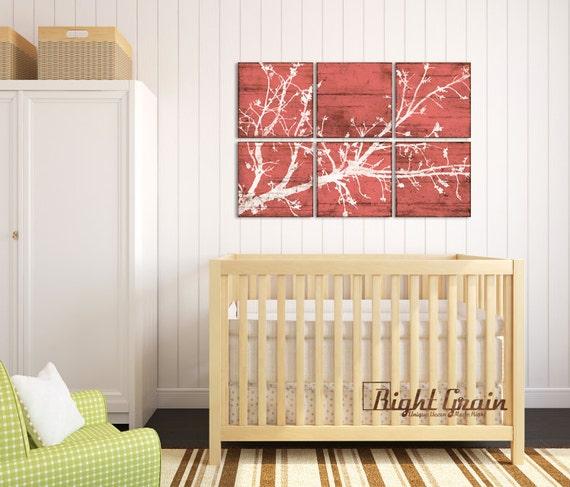 Large Cherry Blossom Nature Print Decor - Custom Made Rustic Wall Art - Girls Room Nursery Decor 24x36