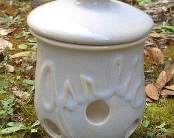 garlic keeper, pearl, white, rustic, pot, kitchen, storage, canister, garlic