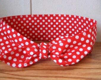 Dotted Hair Bandana, PinUp Hair, Ladies Hairband, Red and White Polka dots, Hair Band,Fabric Hair Band, Boho Bandana, RockaBilly  #225