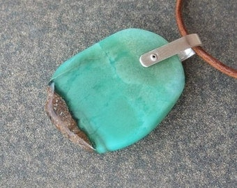 Chrysoprase jewelry - green brown natural stone necklace handmade in Australia.