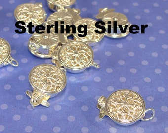 Sterling Silver Box Clasp Filigree Toggle with Tiny Jump Rings 925 Silver Jewelry Supplies Push Tab Round Connector for Necklace Bracelet
