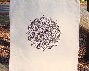 mandala tote bag market bag graphic ready to color zendoodle adult coloring original drawing yoga zen serenity cotton canvas heat press - Coloring Book Yarns
