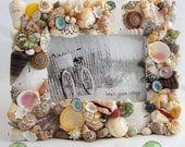 Nautical Home Decor, Beach Decor Seashell Picture Frame, Shell Photo Frame, Beach House Decor, Coastal Home Decor Seashell Frame - #CSF57