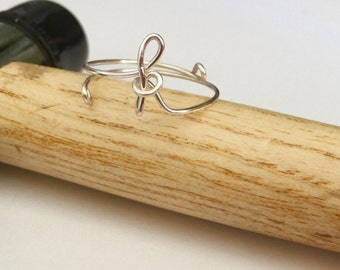Adjustable initial Ring wire ring,  Wire Wrapped Ring, handmade wire rings
