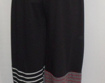 Plus Size Pants, Coco and Juan, Black Knit  Mixed Stripe Bubble Pant  Size 1 fits 1X,2X