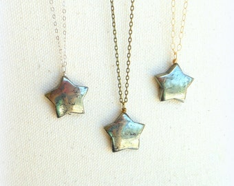 Pyrite star necklace  gemstone star pyrite pendant pagan jewelry stone star jewelry silver or gold filled necklace everyday necklace