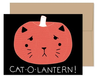 Boxed Set of 8 Cat-o-lantern Halloween Cards