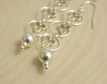 Earrings with Loops and Filgrees and Sterling Silver Beads CE-243