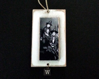 Primitive Witches Ornament Halloween Vintage Image Photo
