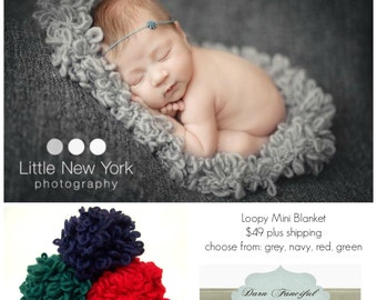 Loopy Textured Blanket Newborn Photo Prop Layer Basket Stuffer Hand Knit Photography Backdrop Baby Knitted Mat Bucket Filler Christmas Silve