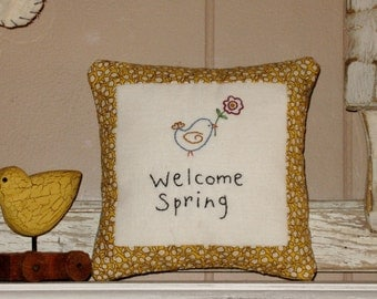 Welcome Spring Small Primitive Country Decor Pillow, Spring Decor
