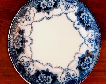 Vintage Flow Blue Plate Douglas Pattern Blue and White Dinner Plate Ford and Sons 1900s Antique