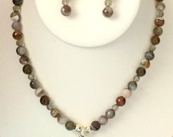 Botswana Agate And Crystal Necklace Set With Beautiful Botswana Pendant In 18 Inch Length