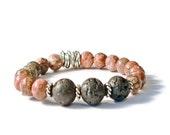 Lava Stone & Leopard Skin Jasper Aromatherapy Bracelet