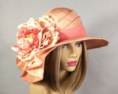 """Kentucky Derby hat, """"Sonya"""", beautiful peach straw hat with draped pleating on the side, and large pink, peach, and coral  flower"""