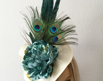 """Kentucky Derby , """"Trina"""",  Fascinator in ivory with Aqua flowers, peacock feathers, straw hat"""