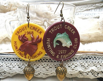 acorn winter mismatch earrings assemblage hunting recycle club lodge pins