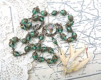 spring green necklace bird assemblage rosary basket recycled vintage jewelry garden petite