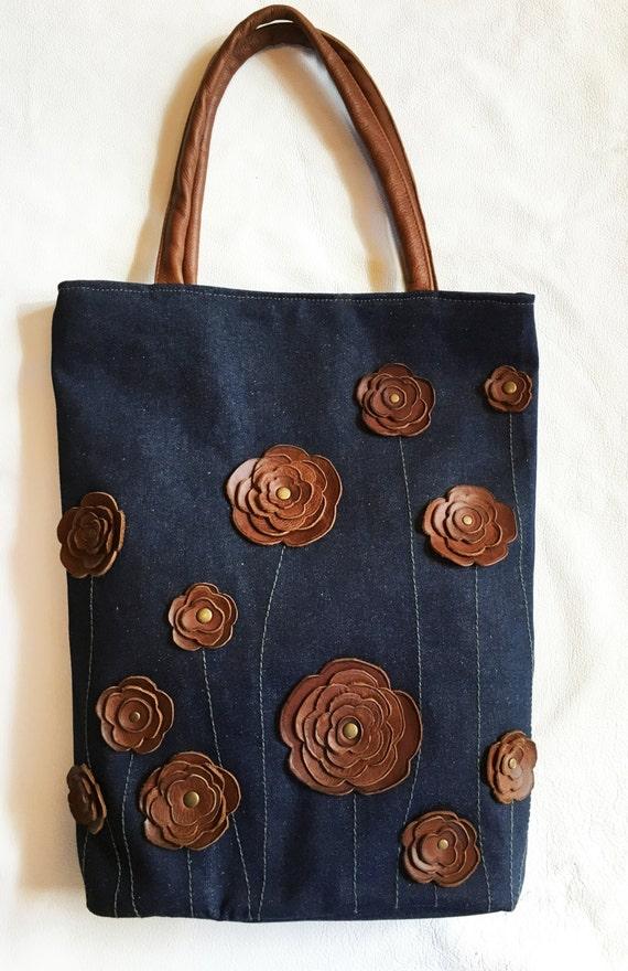 Denim Handbag Purse Bag Tote With Studded Brown Leather Floral