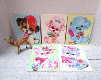 5 Adorable Vintage Pastel Pets Giant Greeting Cards w/ Envelopes, Puppies Kittens, Frameable, Quality Crest 1970, Pink Blue Nursery Decor