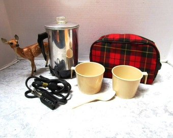 Vintage Red Plaid Hot Drink Kit, Complete Set w/ Electric Percolator Coffee Pot, Cups, Tartan Bag, Scottish Fest Glamping Football TailGate