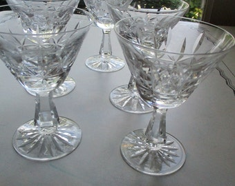 Set of 5 Vintage Waterford Crystal Stemware, Signed, Champagne, Sherbert Or Wine Glasses