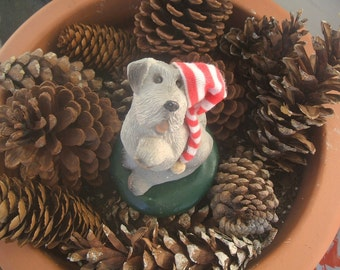 1986 Byers Choice Ltd. Caroling Dog Terrier With Red Striped Stocking cap, Paw Up Singing, Howling, The Carolers, Signed