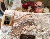 Vintage Lace Keepsake Pochette Book Embellished with Vintage Tintype and Finding