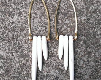 White howlite spike earrings