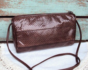 Vintage Snake Skin Reptile Purse Handbag Crossbody Over the Shoulder Bag Marshall Fields Name brand 1980s 80s Brown Leather
